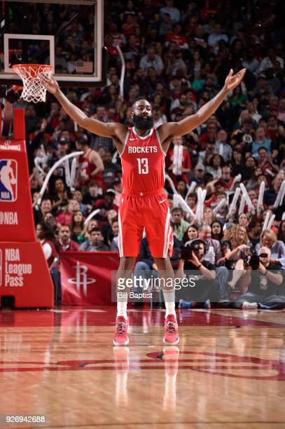 James Harden of the Houston Rockets reacts during game against the Boston Celtics on March 3 2018 at the Toyota Center in Houston Texas NOTE TO USER...