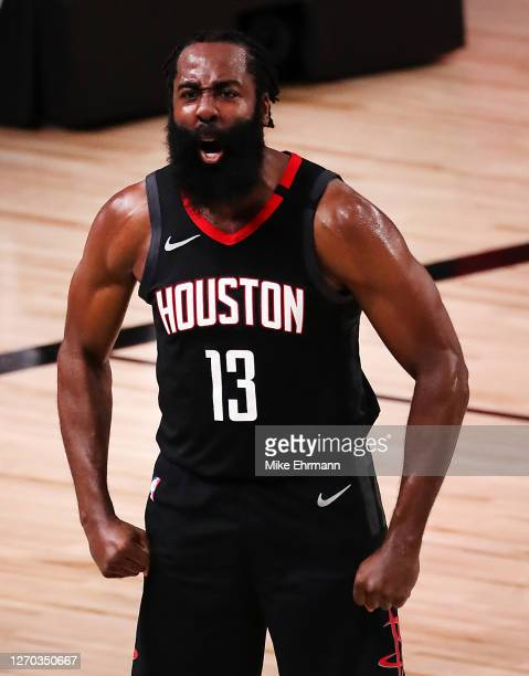 James Harden of the Houston Rockets reacts during the fourth quarter against the Oklahoma City Thunder in Game Seven of the Western Conference First...