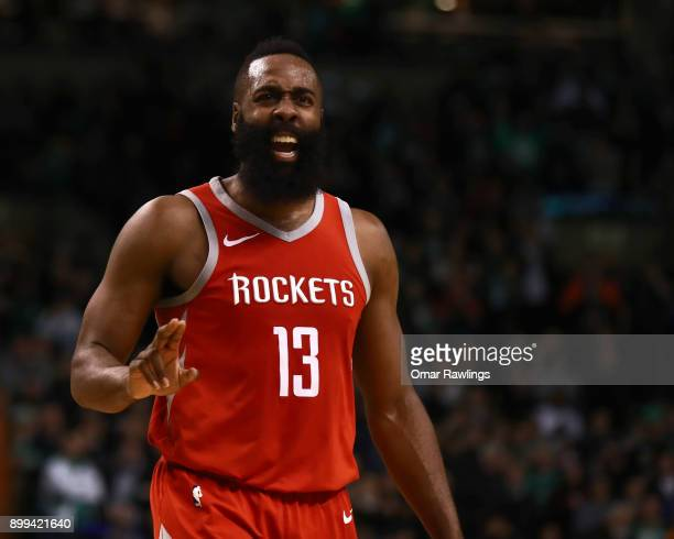 James Harden of the Houston Rockets reacts during the fourth quarter of the game against the Boston Celtics at TD Garden on December 28 2017 in...
