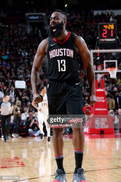 James Harden of the Houston Rockets reacts during the game against the San Antonio Spurs on December 15 2017 at Toyota Center in Houston Texas NOTE...