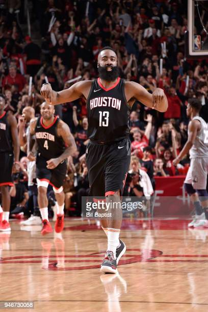 James Harden of the Houston Rockets reacts during the game against the Minnesota Timberwolves in Game One of Round One of the 2018 NBA Playoffs on...