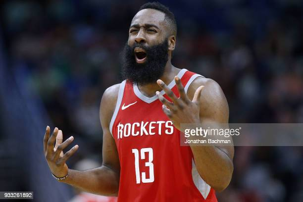 James Harden of the Houston Rockets reacts during the second half against the New Orleans Pelicans at the Smoothie King Center on March 17 2018 in...
