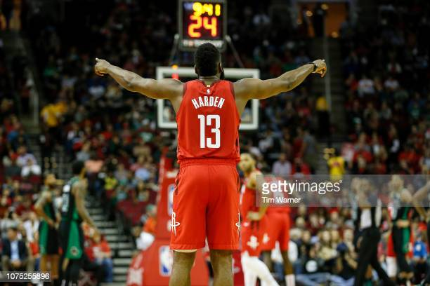 James Harden of the Houston Rockets reacts in the first half against the Boston Celtics at Toyota Center on December 27 2018 in Houston Texas NOTE TO...