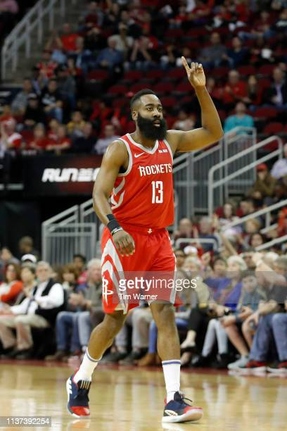 James Harden of the Houston Rockets reacts in the first half against the Phoenix Suns at Toyota Center on March 15 2019 in Houston Texas NOTE TO USER...