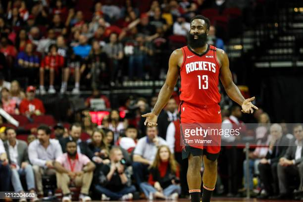 James Harden of the Houston Rockets reacts in the first half against the Minnesota Timberwolves at Toyota Center on March 10, 2020 in Houston, Texas....