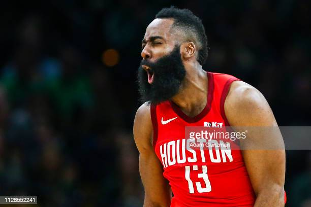 James Harden of the Houston Rockets reacts in the fort quarter of a game against the Boston Celtics at TD Garden on March 3 2019 in Boston...