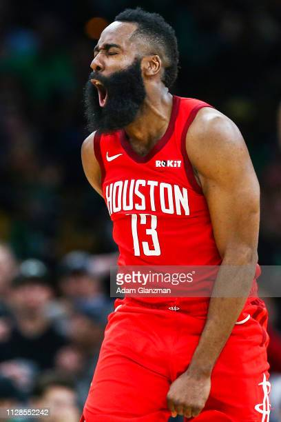 James Harden of the Houston Rockets reacts in the fort quarter of a game against the Boston Celtics at TD Garden on March 3, 2019 in Boston,...