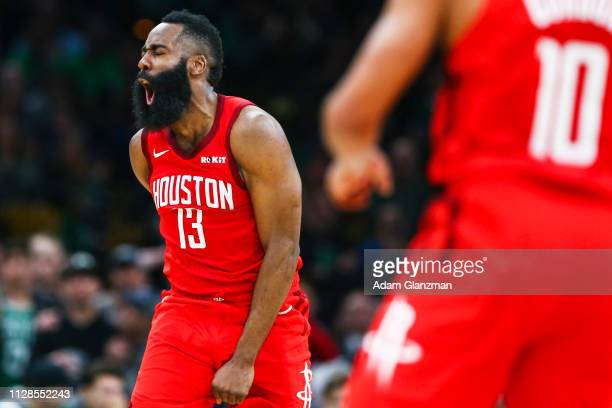 James Harden of the Houston Rockets reacts in the fourth quarter of a game against the Boston Celtics at TD Garden on March 3 2019 in Boston...