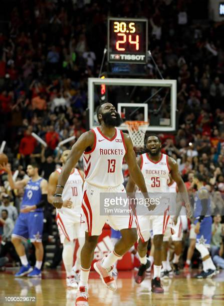 James Harden of the Houston Rockets reacts in the fourth quarter against the Orlando Magic at Toyota Center on January 27 2019 in Houston Texas NOTE...