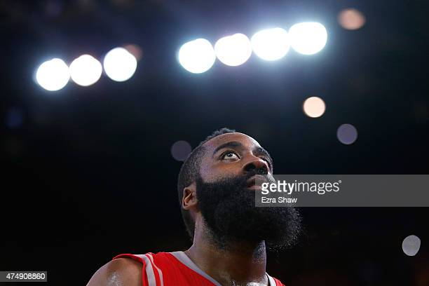 James Harden of the Houston Rockets reacts in the second half against the Golden State Warriors during game five of the Western Conference Finals of...