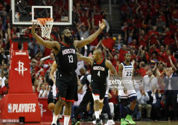 James Harden of the Houston Rockets reacts in the second half during Game Five of the first round of the 2018 NBA Playoffs against the Minnesota...