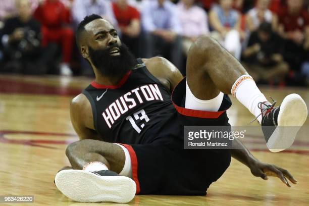 James Harden of the Houston Rockets reacts in the second quarter of Game Seven of the Western Conference Finals of the 2018 NBA Playoffs at Toyota...