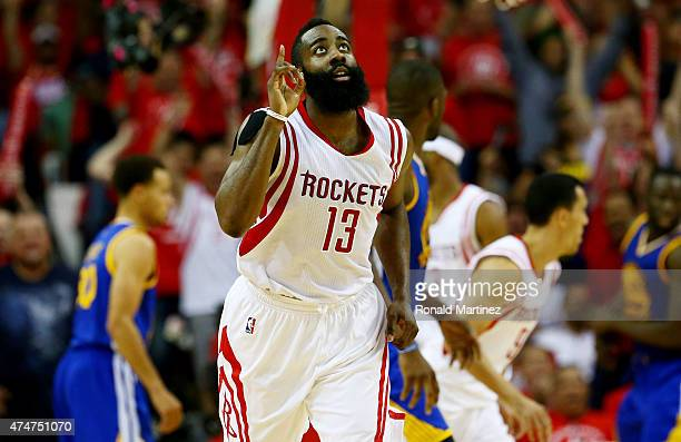 James Harden of the Houston Rockets reacts in the third quarter against the Golden State Warriors during Game Four of the Western Conference Finals...