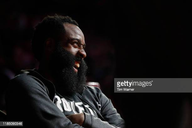James Harden of the Houston Rockets reacts on the bench in the second half against the Miami Heat at Toyota Center on November 27, 2019 in Houston,...
