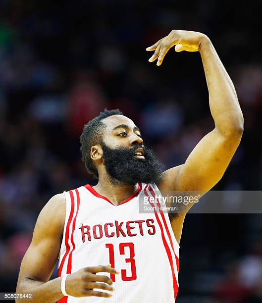 James Harden of the Houston Rockets reacts to a basket against the Miami Heat during their game at the Toyota Center on February 2 2016 in Houston...
