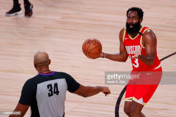 James Harden of the Houston Rockets reacts to a call during the second half against the Portland Trail Blazers at The Arena at ESPN Wide World Of...