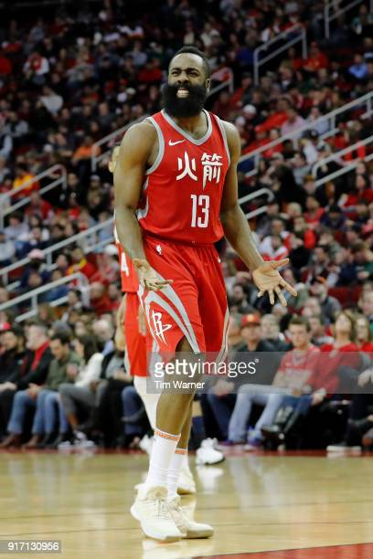 James Harden of the Houston Rockets reacts to a call in the second half against the Dallas Mavericks at Toyota Center on February 11 2018 in Houston...