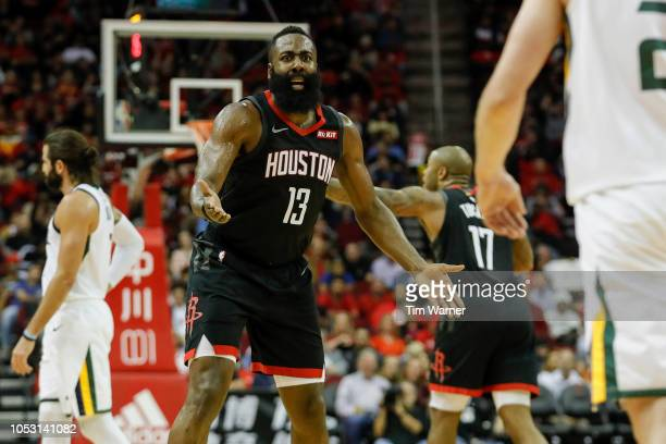 James Harden of the Houston Rockets reacts to a foul in the second half against the Utah Jazz at Toyota Center on October 24 2018 in Houston Texas...