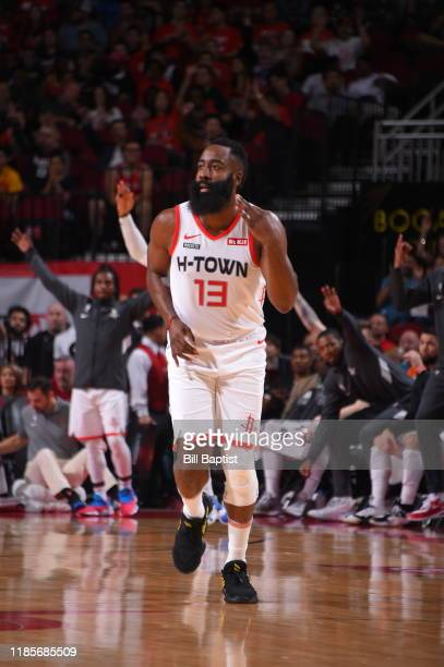 James Harden of the Houston Rockets reacts to a play against the Atlanta Hawks on November 30, 2019 at the Toyota Center in Houston, Texas. NOTE TO...