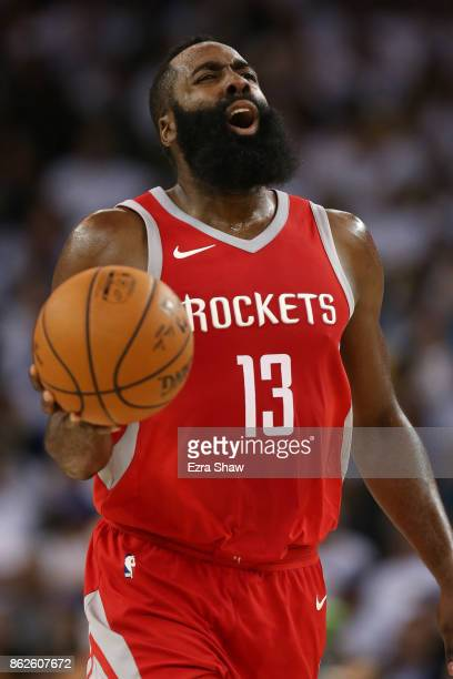 James Harden of the Houston Rockets reacts to a play against the Golden State Warriors during their NBA game at ORACLE Arena on October 17 2017 in...