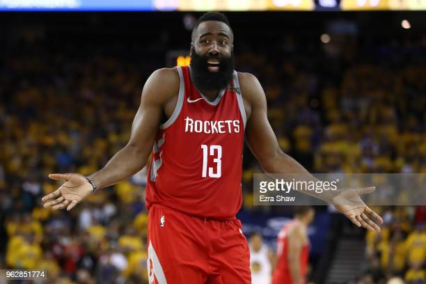 James Harden of the Houston Rockets reacts to a play against the Golden State Warriors during Game Six of the Western Conference Finals in the 2018...