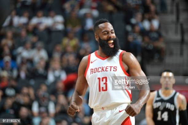 James Harden of the Houston Rockets reacts to a play against the San Antonio Spurs on February 1 2018 at the ATT Center in San Antonio Texas NOTE TO...