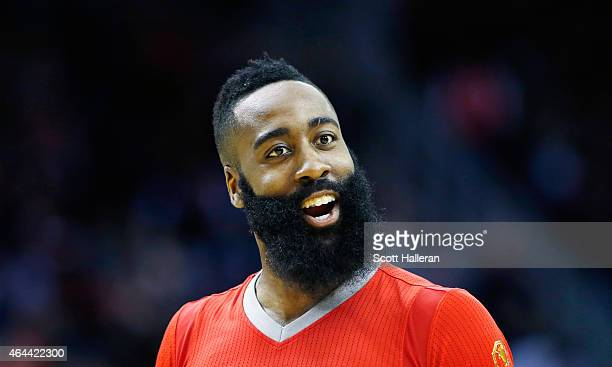 James Harden of the Houston Rockets reacts to a play during their game against the Los Angeles Clippers at the Toyota Center on February 25, 2015 in...