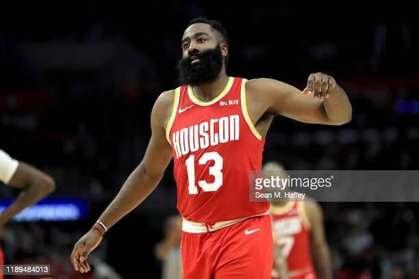 James Harden of the Houston Rockets reacts to being called for a foul during the second half of a game against the Los Angeles Clippers at Staples...