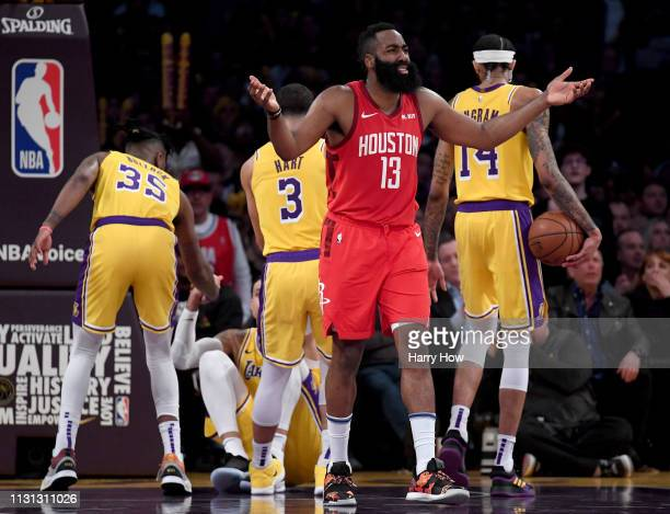 James Harden of the Houston Rockets reacts to his fifth foul during a 111106 loss to the Los Angeles Lakers win at Staples Center on February 21 2019...