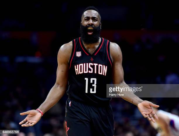James Harden of the Houston Rockets reacts to his foul during a 122103 win over the LA Clippers at Staples Center on March 1 2017 in Los Angeles...