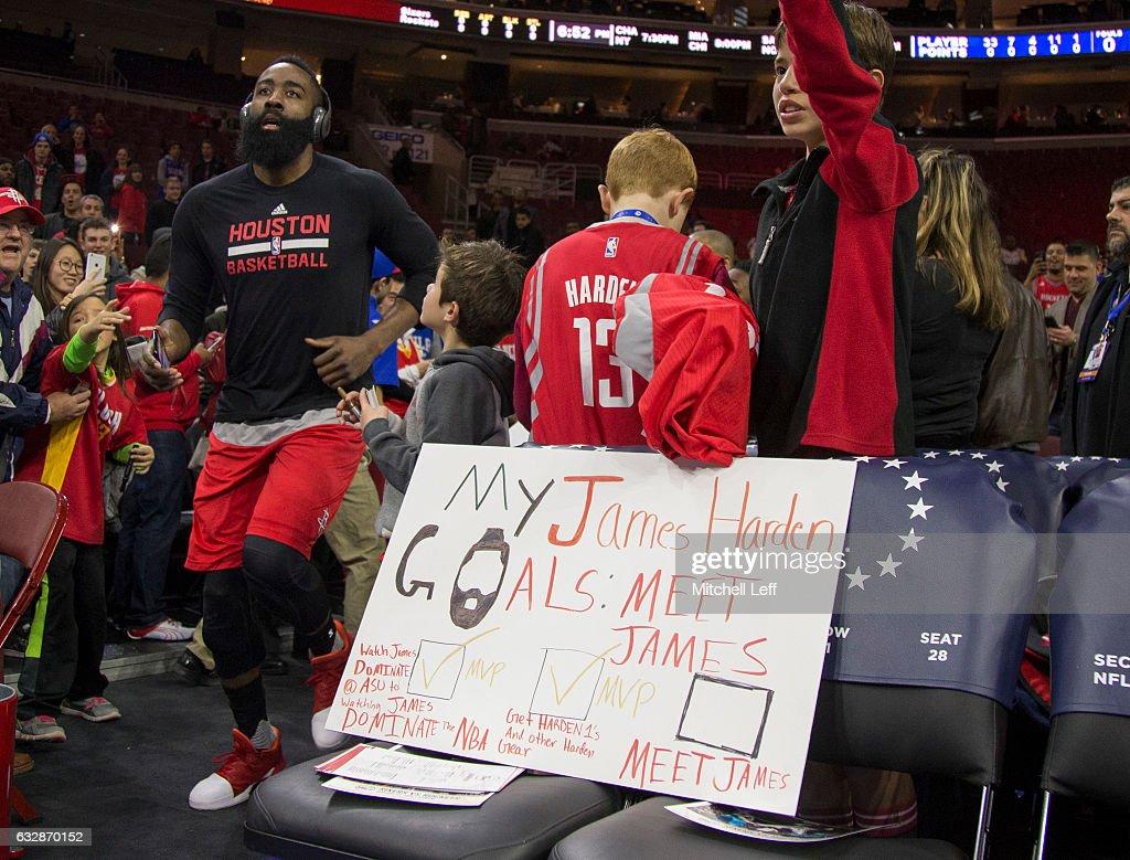 James Harden #13 of the Houston Rockets runs onto the court prior to the game against the Philadelphia 76ers at the Wells Fargo Center on January 27, 2017 in Philadelphia, Pennsylvania.