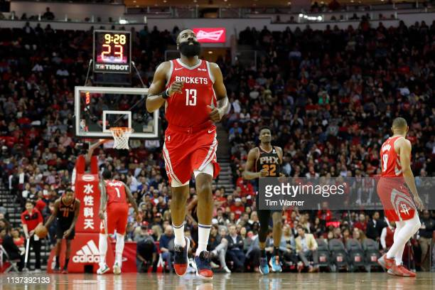 James Harden of the Houston Rockets runs up the court after a basket in the second half against the Phoenix Suns at Toyota Center on March 15 2019 in...