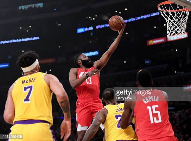 James Harden of the Houston Rockets scores on a layup during the first half against the Los Angeles Lakers at Staples Center on February 21 2019 in...