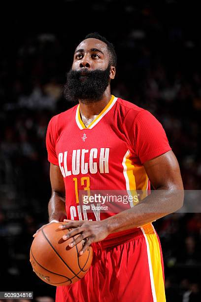 James Harden of the Houston Rockets shoots a free throw against the Utah Jazz on January 7 2016 at the Toyota Center in Houston Texas NOTE TO USER...