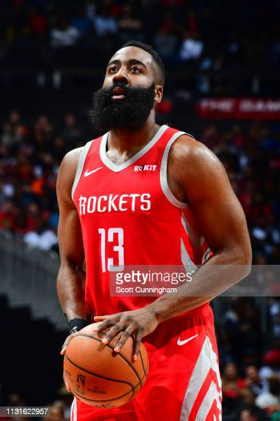 James Harden of the Houston Rockets shoots a freethrow against the Atlanta Hawks on March 19 2019 at State Farm Arena in Atlanta Georgia NOTE TO USER...