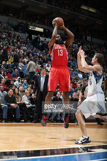 James Harden of the Houston Rockets shoots a jump shot against the Minnesota Timberwolves during the game on January 19 2013 at Target Center in...
