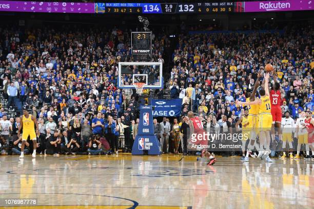 James Harden of the Houston Rockets shoots a three pointer in Overtime to give the Houston Rockets the lead and win over Golden State Warriors on...