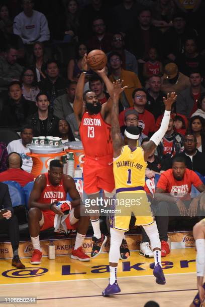 James Harden of the Houston Rockets shoots a threepointer against the Los Angeles Lakers on February 21 2019 at STAPLES Center in Los Angeles...
