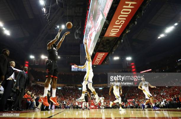 James Harden of the Houston Rockets shoots against Stephen Curry of the Golden State Warriors in the first half of Game Two of the Western Conference...