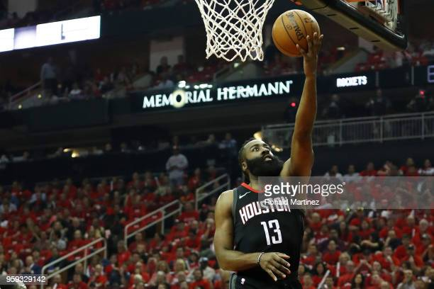 James Harden of the Houston Rockets shoots against the Golden State Warriors in the first quarter of Game Two of the Western Conference Finals of the...