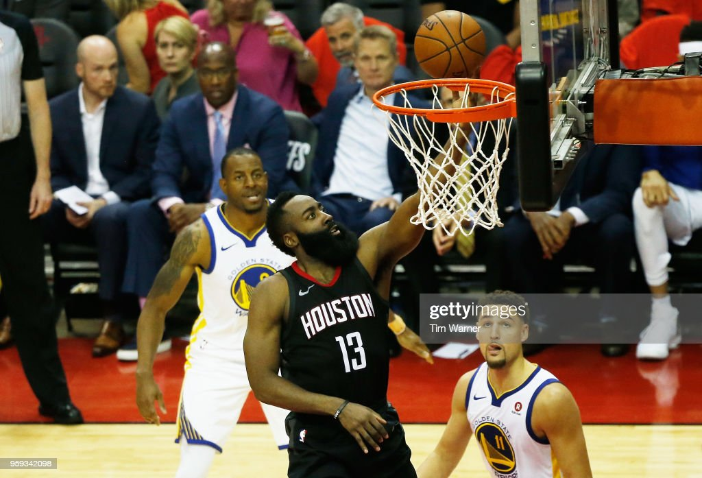 James Harden #13 of the Houston Rockets shoots against the Golden State Warriors in the second half of Game Two of the Western Conference Finals of the 2018 NBA Playoffs at Toyota Center on May 16, 2018 in Houston, Texas.