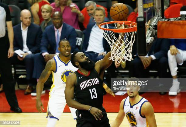 James Harden of the Houston Rockets shoots against the Golden State Warriors in the second half of Game Two of the Western Conference Finals of the...