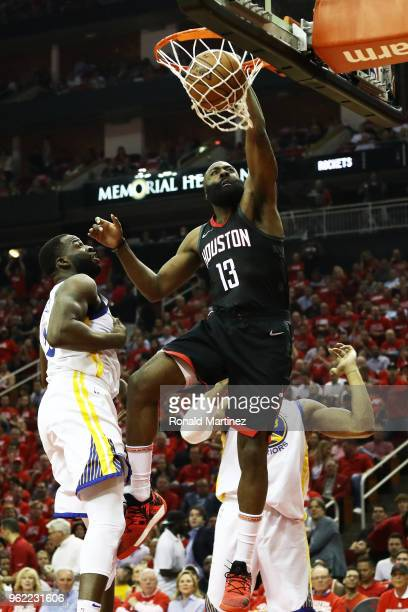 James Harden of the Houston Rockets shoots against the Golden State Warriors in the first half of Game Five of the Western Conference Finals of the...