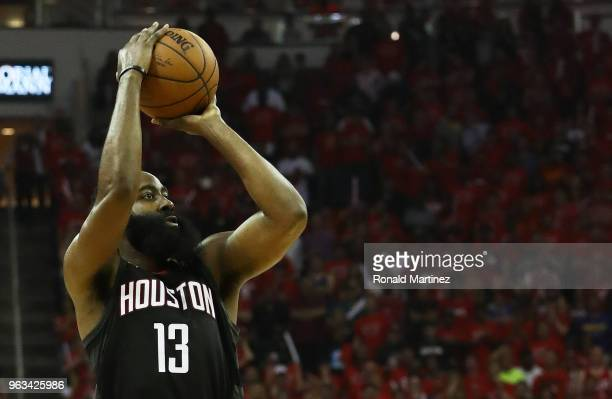 James Harden of the Houston Rockets shoots against the Golden State Warriors in the second quarter of Game Seven of the Western Conference Finals of...