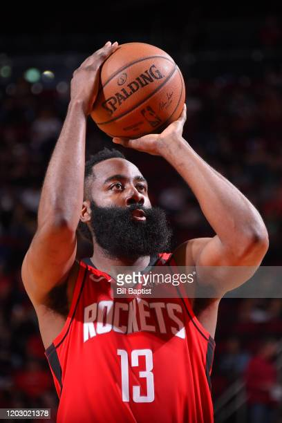 James Harden of the Houston Rockets shoots free throws against the New York Knicks on February 24 2020 at the Toyota Center in Houston Texas NOTE TO...