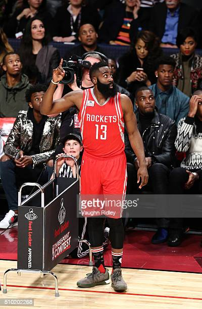 James Harden of the Houston Rockets shoots in the Foot Locker ThreePoint Contest during NBA AllStar Weekend 2016 at Air Canada Centre on February 13...