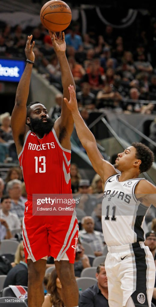 24f6f557d9b James Harden of the Houston Rockets shoots over Bryn Forbes of the ...