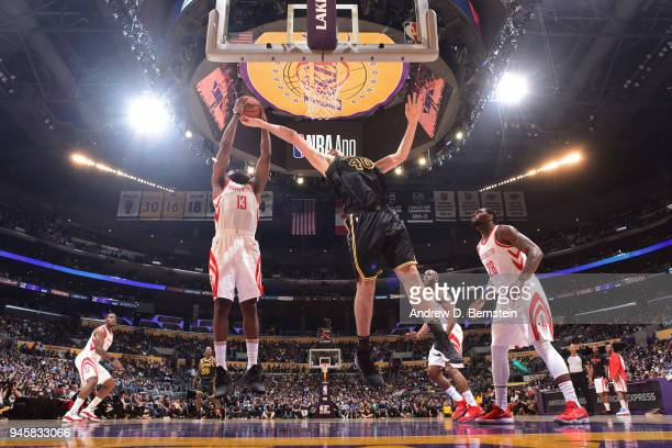 James Harden of the Houston Rockets shoots the ball against Ivica Zubac of the Los Angeles Lakers on April 10 2017 at STAPLES Center in Los Angeles...