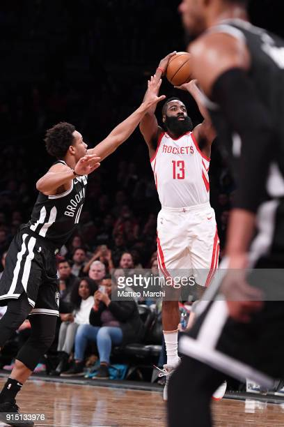 James Harden of the Houston Rockets shoots the ball against Rashad Vaughn of the Brooklyn Nets during the game at Barclays Center on February 6 2018...