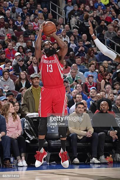 James Harden of the Houston Rockets shoots the ball against the Philadelphia 76ers at Wells Fargo Center on January 27 2017 in Philadelphia...